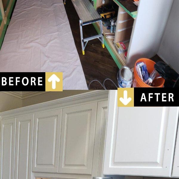 Before After Kitchen Cabinets Painting White Modern Downtown