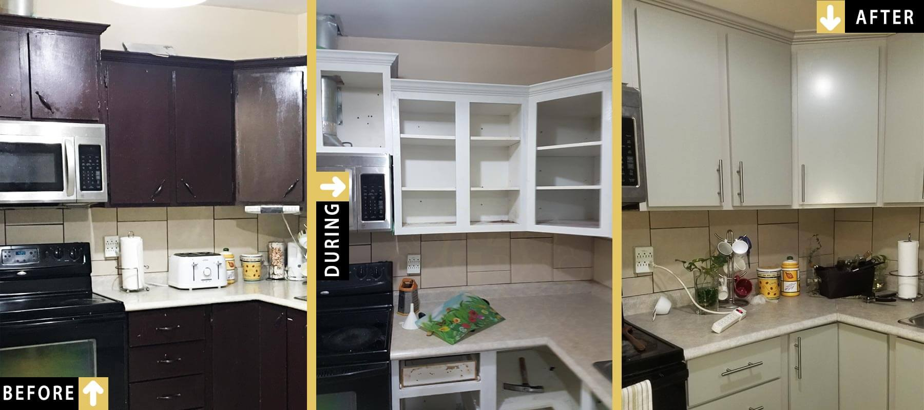 Before During After Photo Of Sanding Repainting Kitchen Cabinets Toronto