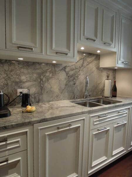Grey White Quartz Backsplash Countertop White Cabinets Refinishing Toronto