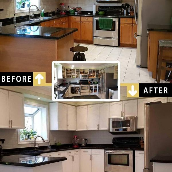 Huge Kitchen Cabinet Transformation Refinishing Markham