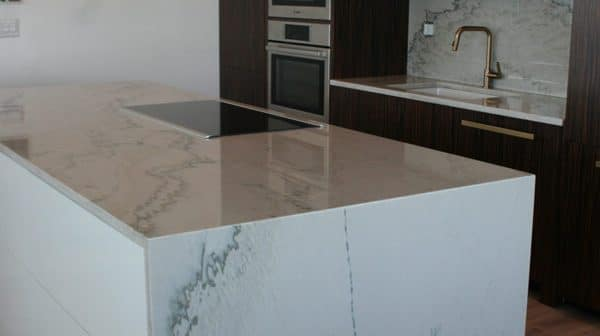 Kitchen Cabinets Refacing White Grey Backsplash Island Countertop
