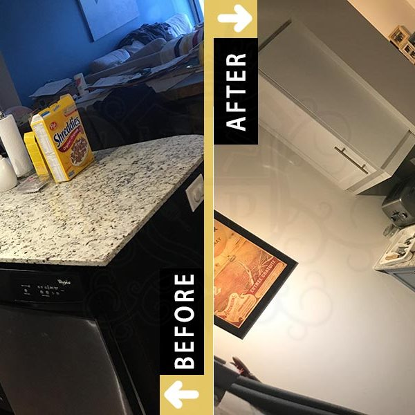 Painting Kitchen Island Cupboards White Dark Gray Etobicoke