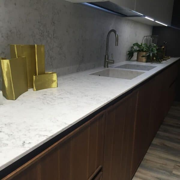 Two Tones Cabinets Painting White Grey Countertop Back Splash Quartz Price