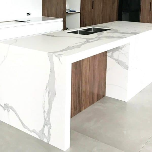 White Gray Water Fall Kitchen Island Counter Top Toronto