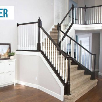 After Photo Painting Stairs Railing
