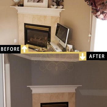 Painting Accent Wall Fireplace Mantel Toronto Markham Before After