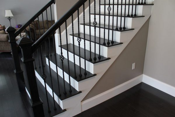 Painting Stairs Black And White Richmond Hill