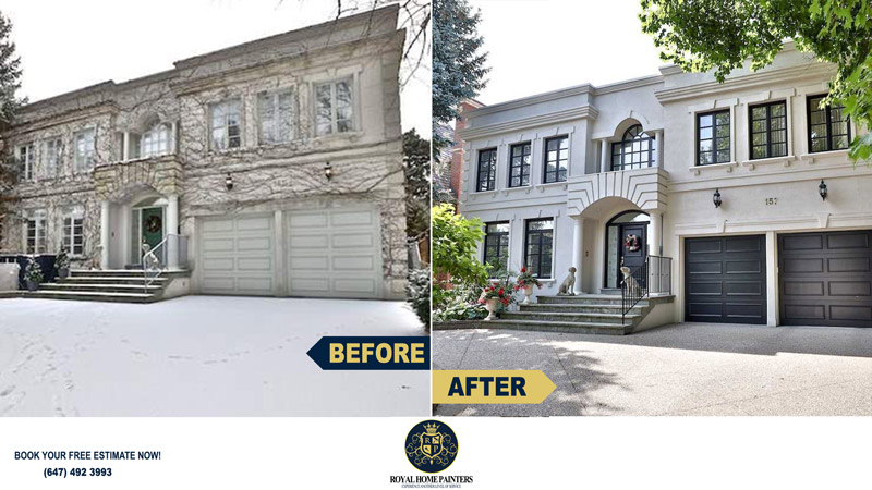 Veins Removal Painting Exterior Concrete Garage Doors Trims North York