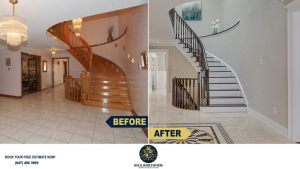 Restaining-Stairs-Steps-And-Painting-Stairs-Risers-Richmond-Hill